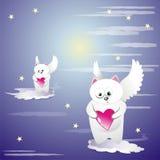 Gatos bonitos com corações ilustração royalty free