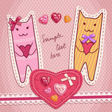 Gatos bonitos com corações loving Foto de Stock