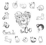 Gatos bonitos da garatuja foto de stock royalty free