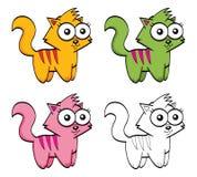 Gatos bonitos dos desenhos animados ilustração stock