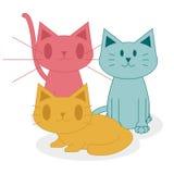 Gatos bonitos dos desenhos animados isolados no fundo branco Ilustração Stock