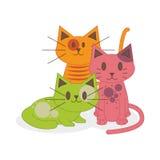 Gatos bonitos dos desenhos animados isolados no fundo branco Ilustração Royalty Free