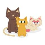 Gatos bonitos dos desenhos animados isolados no fundo branco Ilustração do Vetor