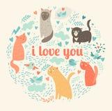 Gatos bonitos dos desenhos animados Teste padrão Fotos de Stock Royalty Free