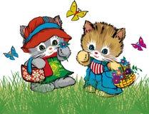 Gatos bonitos e borboletas com flores Ilustração Stock