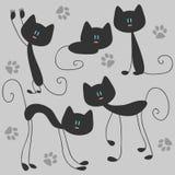 Gatos bonitos engraçados ilustração royalty free