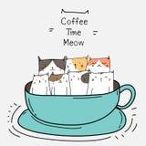 Gatos bonitos no copo Tempo do café ilustração royalty free