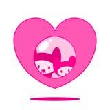 Gatos bonitos no coração ilustração stock
