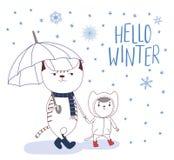 Gatos bonitos no inverno com flocos de neve e tipografia ilustração royalty free