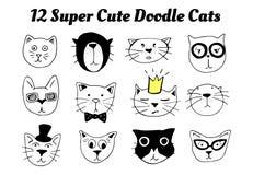 12 gatos bonitos super da garatuja ilustração royalty free