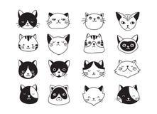 Gatos, colección de iconos del vector, ejemplos dibujados mano stock de ilustración