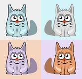Gatos coloridos determinados de la historieta Imagenes de archivo