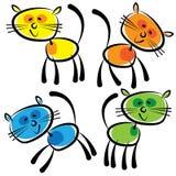 Gatos coloridos isolados em um branco Imagem de Stock