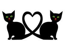 Gatos com coração ilustração royalty free