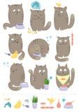 Gatos con los alimentos stock de ilustración