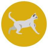 Gatos de diversas razas Iconos Imagen del vector en un estilo plano Ejemplo en un fondo redondo Elemento del diseño, interfaz libre illustration