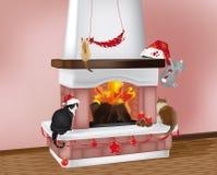 Gatos de la chimenea y de la Navidad Imagenes de archivo