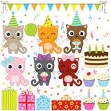 Gatos de la fiesta de cumpleaños Fotografía de archivo libre de regalías