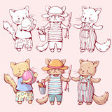Gatos de la historieta Imagen de archivo