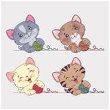 Gatos de la historieta del vector fijados Foto de archivo libre de regalías