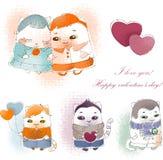 Gatos de la tarjeta del día de San Valentín de la colección Imagen de archivo