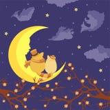 Gatos de los amantes que se sientan en la luna y el sueño stock de ilustración