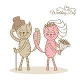Gatos del amor del día de boda de la tarjeta Fotografía de archivo libre de regalías
