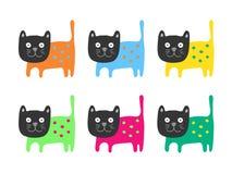 Gatos del color fijados Foto de archivo libre de regalías