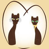 Gatos del corazón de la tarjeta del día de San Valentín Imagenes de archivo