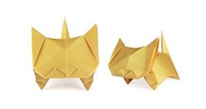 Gatos del jengibre de Origami Imagen de archivo libre de regalías