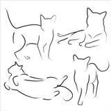 Gatos dibujados mano fijados Foto de archivo
