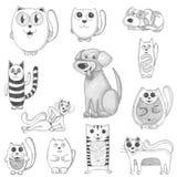 Gatos dibujados mano y perros fijados Fotografía de archivo