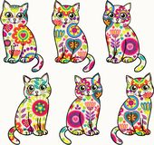 Gatos divertidos coloridos brillantes Vector el modelo inconsútil Foto de archivo