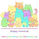 Gatos divertidos con los pescados ilustración del vector