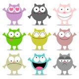 Gatos divertidos con varias emociones Imagen de archivo libre de regalías