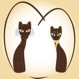 Gatos do coração do Valentim ilustração stock