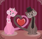 Gatos dos amantes Imagens de Stock Royalty Free