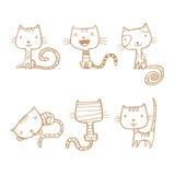 Gatos dos desenhos animados ajustados Fotografia de Stock Royalty Free