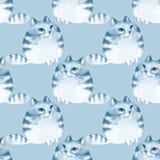 Gatos dos desenhos animados da aquarela, teste padrão sem emenda Fotos de Stock