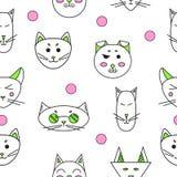 Gatos dos desenhos animados Gatos engraçados bonitos Fotografia de Stock Royalty Free