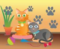 Gatos dos gatos da sala que tiram von caráter Ilustração do Vetor