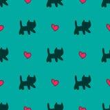 Gatos dulces y modelo inconsútil de los corazones stock de ilustración