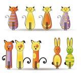 Gatos e cães e coelhos Imagens de Stock