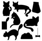 Gatos e clipart do vetor das silhuetas da comida de gato Foto de Stock Royalty Free