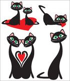 Gatos e coração Foto de Stock Royalty Free