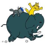 Gatos e elefante Fotografia de Stock