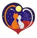 Gatos e lua Imagem de Stock
