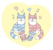 Gatos e os gatinhos do sono ilustração royalty free