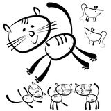 Gatos e rato isolados em um branco Fotografia de Stock Royalty Free