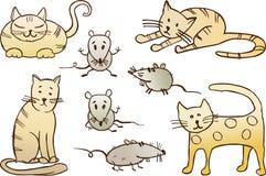 Gatos e ratos ilustração do vetor